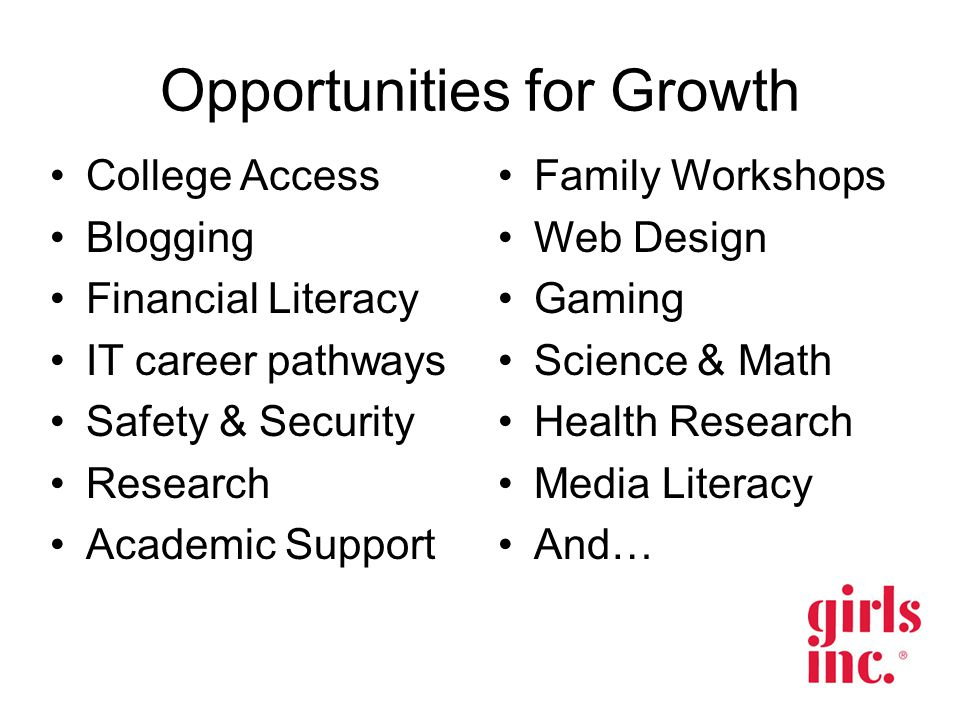 Opportunities for Growth College Access Blogging Financial Literacy IT career pathways Safety & Security Research Academic Support Family Workshops Web Design Gaming Science & Math Health Research Media Literacy And…