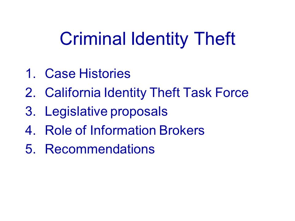 Criminal Identity Theft 1.Case Histories 2.California Identity Theft Task Force 3.Legislative proposals 4.Role of Information Brokers 5.Recommendations