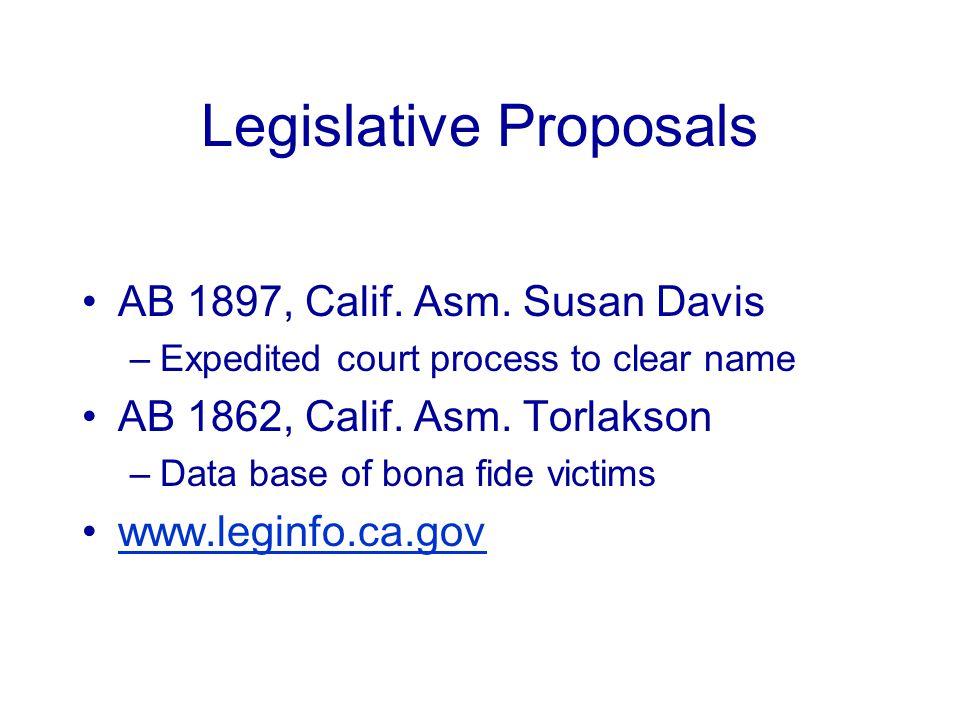 Legislative Proposals AB 1897, Calif. Asm.