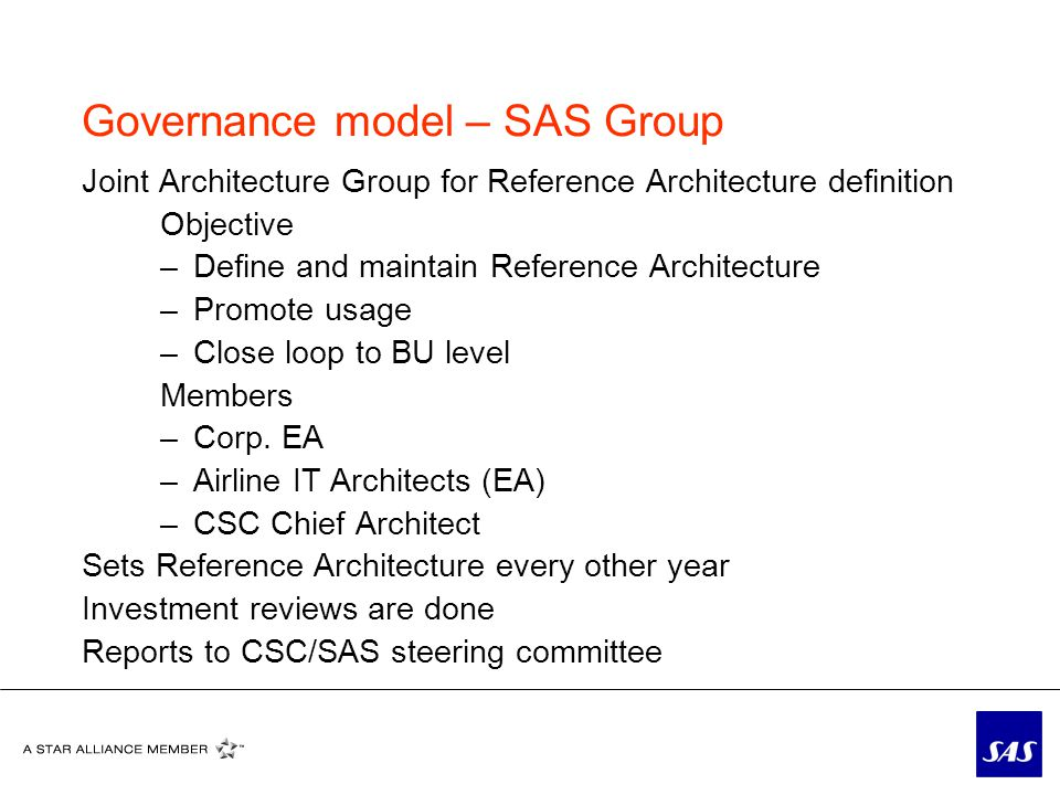 Governance model – SAS Group Joint Architecture Group for Reference Architecture definition Objective –Define and maintain Reference Architecture –Promote usage –Close loop to BU level Members –Corp.