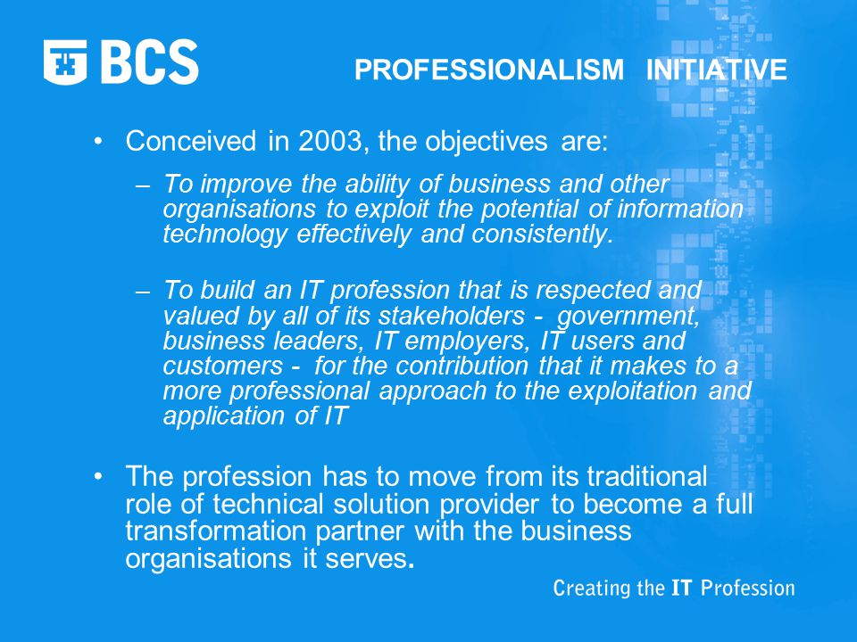 PROFESSIONALISM INITIATIVE Conceived in 2003, the objectives are: –To improve the ability of business and other organisations to exploit the potential of information technology effectively and consistently.