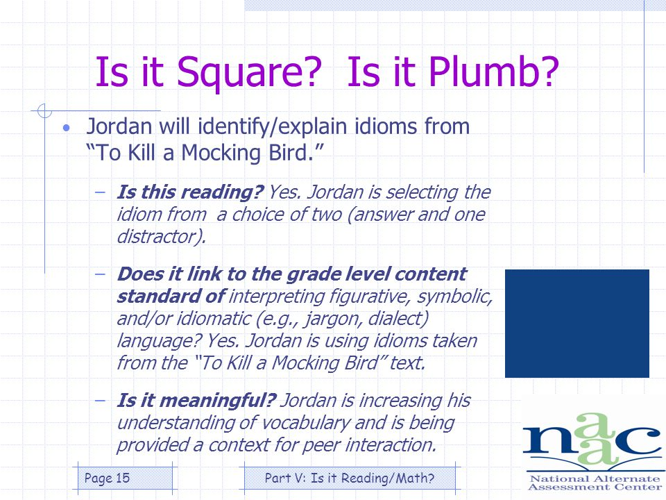 Part V: Is it Reading/Math Page 15 Is it Square. Is it Plumb.