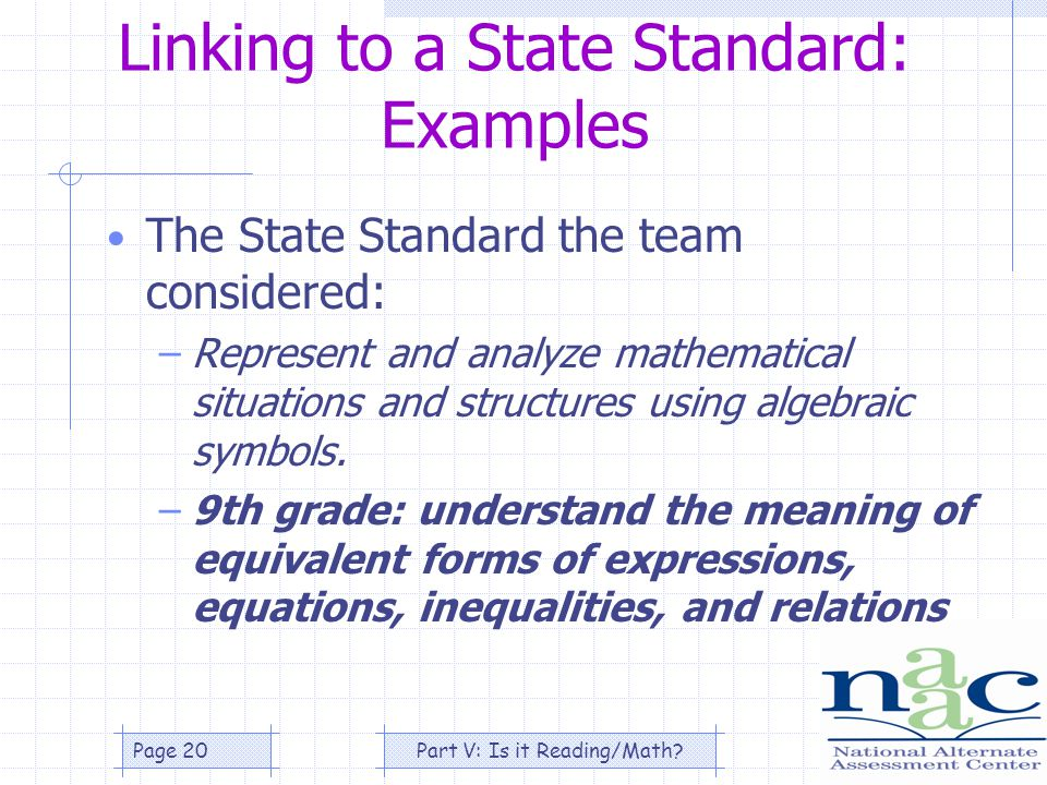 Part V: Is it Reading/Math Page 20 Linking to a State Standard: Examples The State Standard the team considered: –Represent and analyze mathematical situations and structures using algebraic symbols.