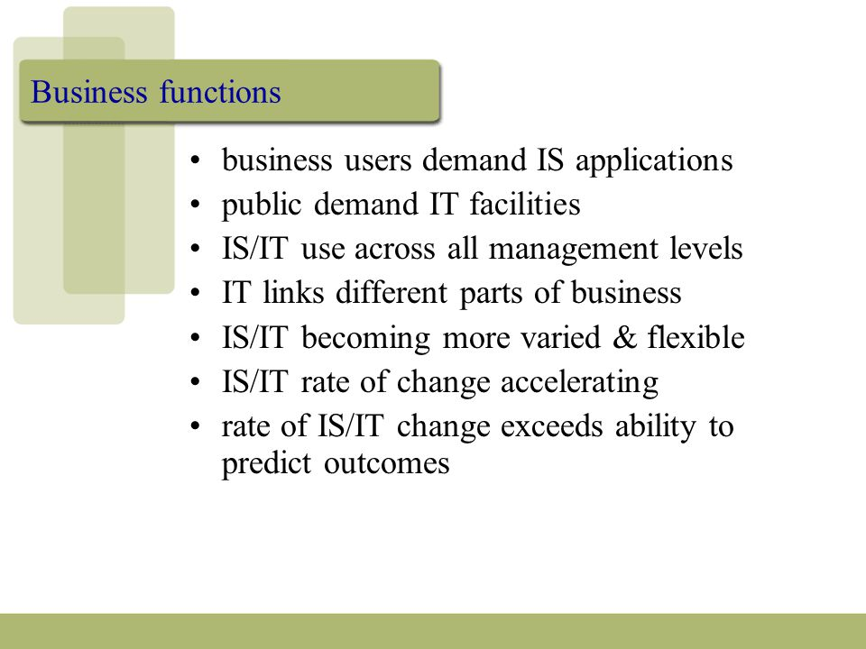 Business functions business users demand IS applications public demand IT facilities IS/IT use across all management levels IT links different parts o
