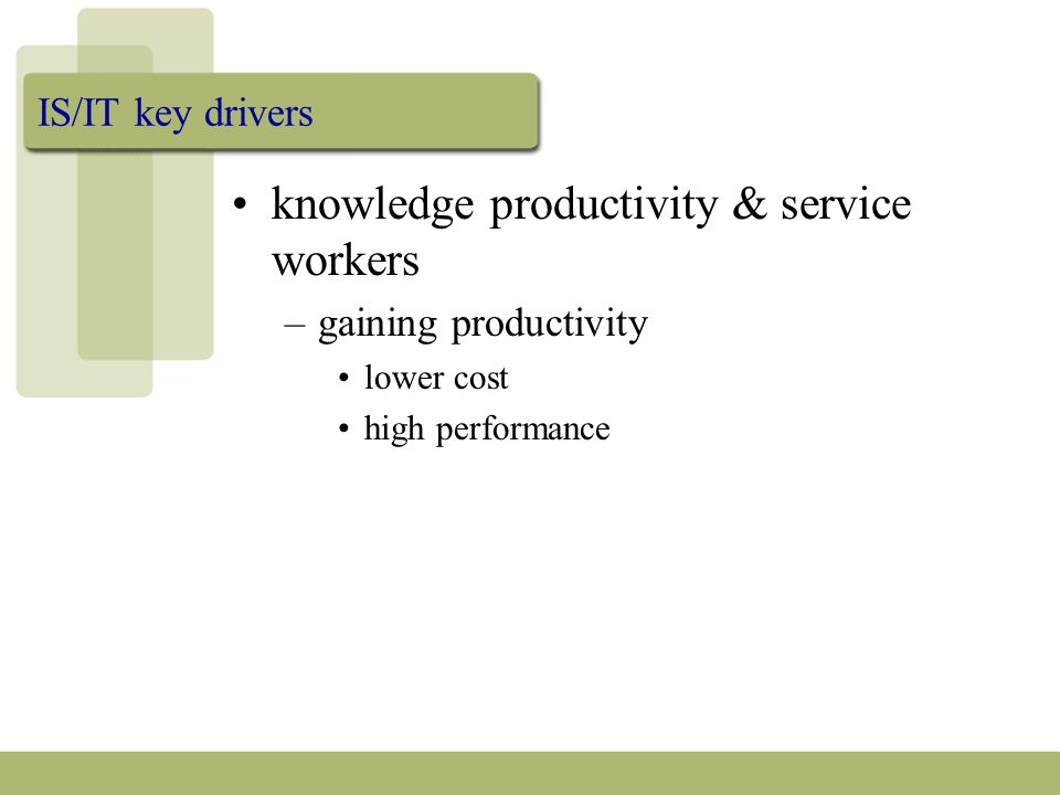 IS/IT key drivers knowledge productivity & service workers –gaining productivity lower cost high performance