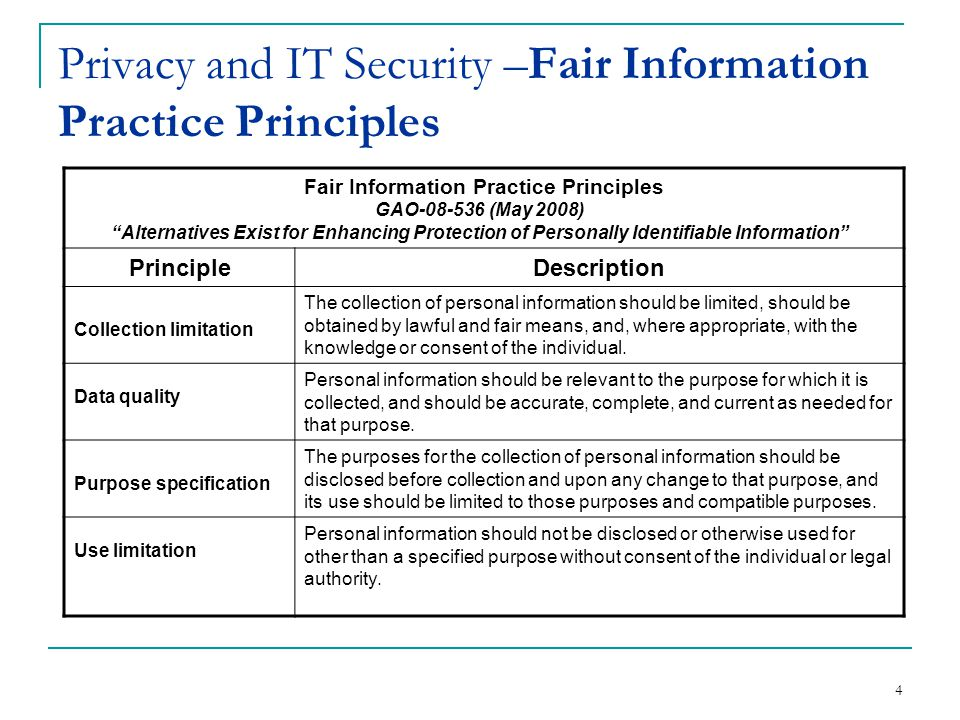 Privacy and IT Security –Fair Information Practice Principles 4 GAO-08-536 (May 2008) Alternatives Exist for Enhancing Protection of Personally Identifiable Information Fair Information Practice Principles PrincipleDescription Collection limitation The collection of personal information should be limited, should be obtained by lawful and fair means, and, where appropriate, with the knowledge or consent of the individual.