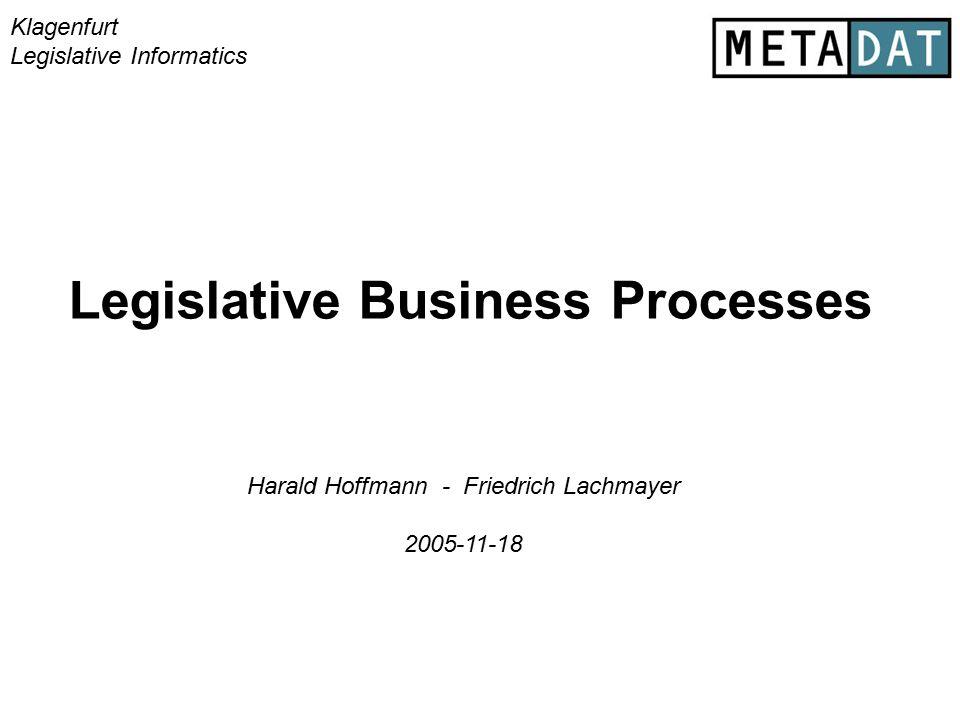 Legislative Business Processes Klagenfurt Legislative Informatics Harald Hoffmann - Friedrich Lachmayer 2005-11-18