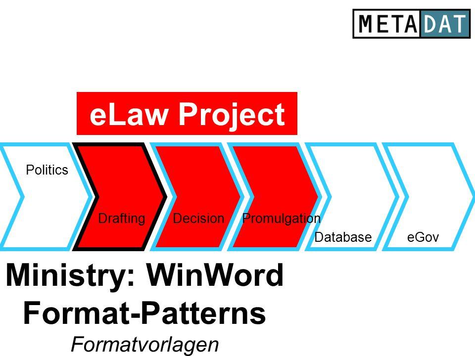 Drafting Database Politics eGov DecisionPromulgation Ministry: WinWord Format-Patterns Formatvorlagen eLaw Project