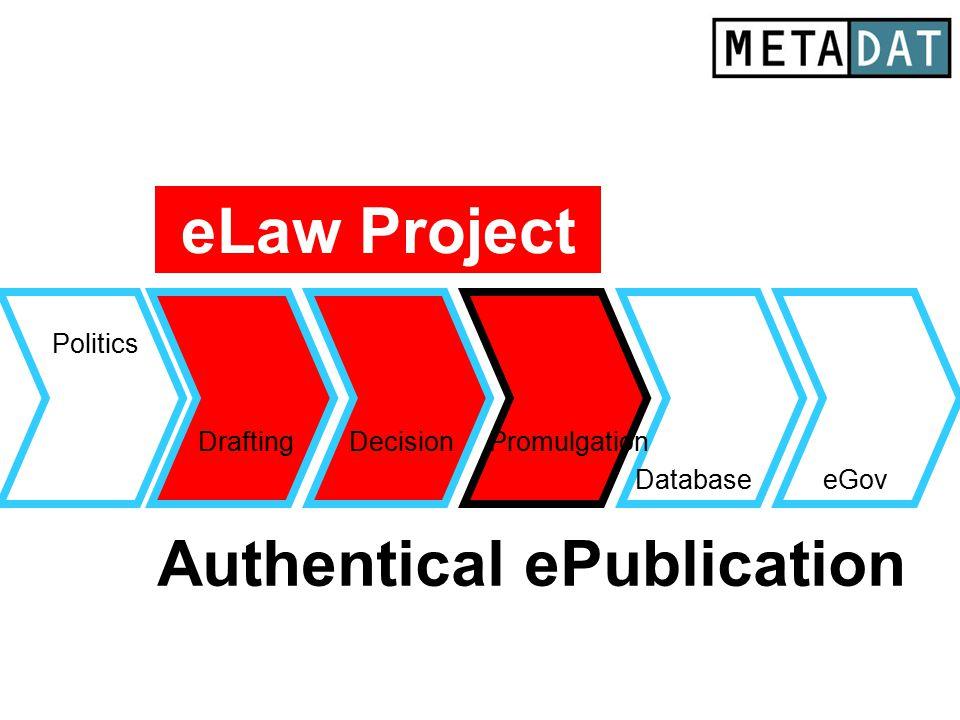 Drafting Database Politics eGov DecisionPromulgation Authentical ePublication eLaw Project