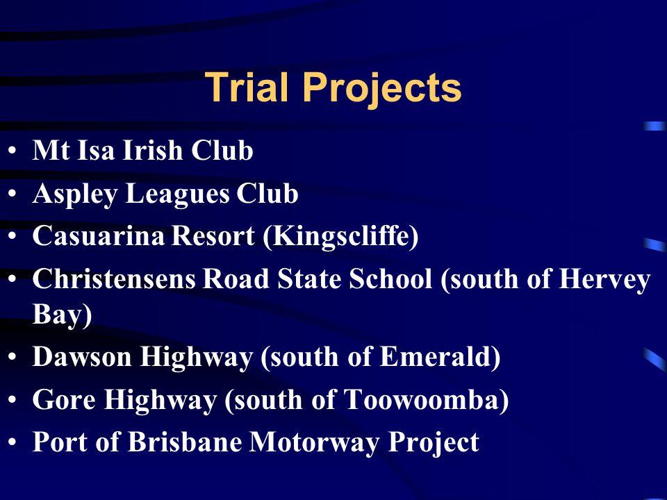 Trial Projects Mt Isa Irish Club Aspley Leagues Club Casuarina Resort (Kingscliffe) Christensens Road State School (south of Hervey Bay) Dawson Highway (south of Emerald) Gore Highway (south of Toowoomba) Port of Brisbane Motorway Project