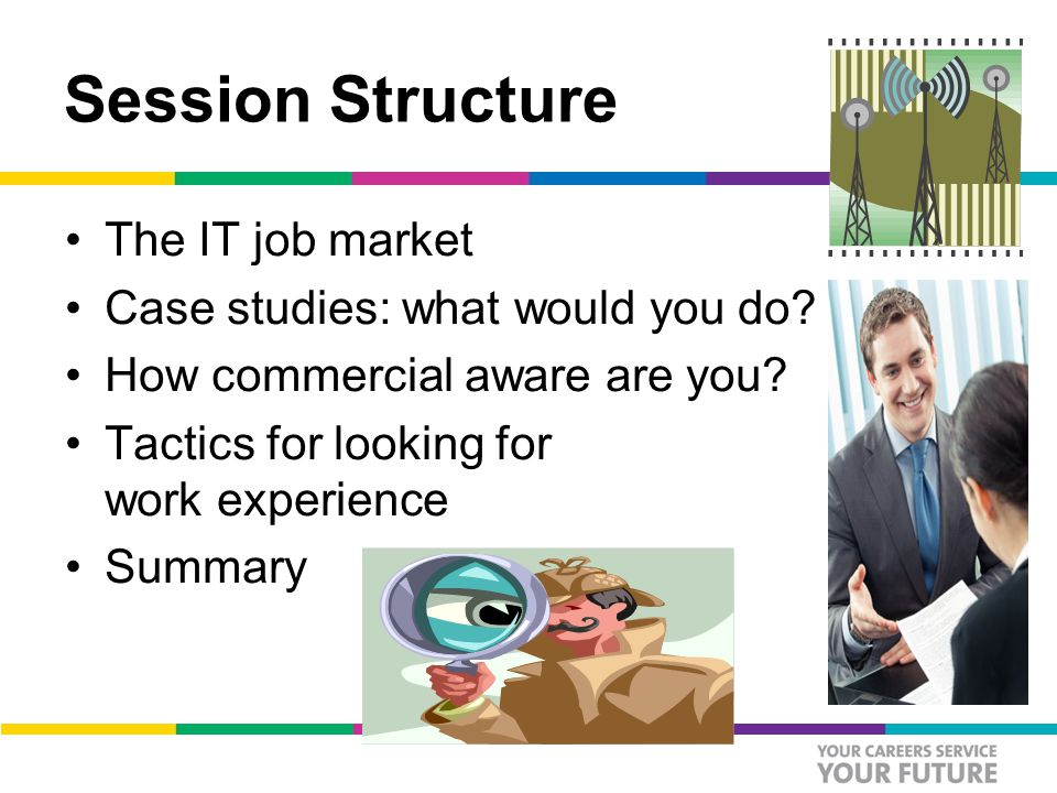 Session Structure The IT job market Case studies: what would you do.