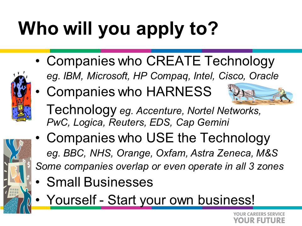 Who will you apply to. Companies who CREATE Technology eg.