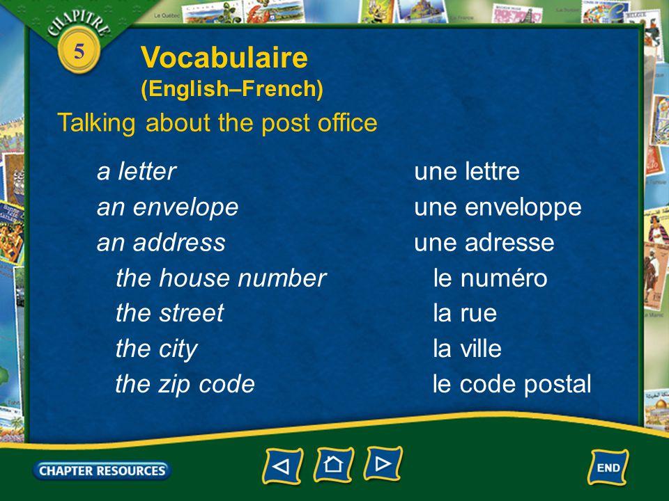 5 une lettrea letter une enveloppean envelope une adressean address le numérothe house number la ruethe street la villethe city le code postalthe zip code Talking about the post office Vocabulaire (English–French)
