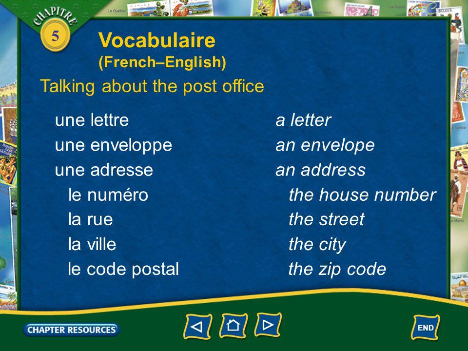 5 une lettrea letter une enveloppean envelope une adressean address le numérothe house number la ruethe street la villethe city le code postalthe zip code Talking about the post office Vocabulaire (French–English)