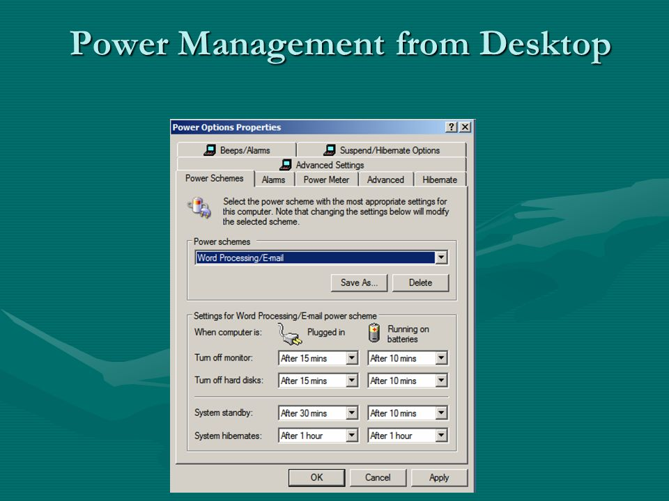 Power Management from Desktop