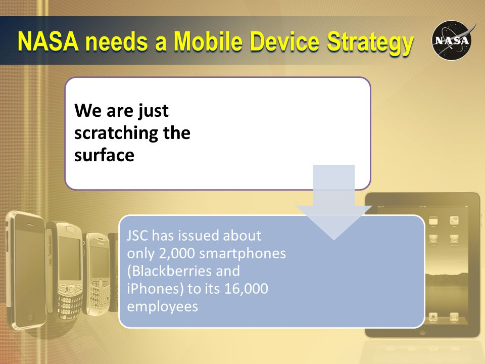 NASA needs a Mobile Device Strategy We are just scratching the surface JSC has issued about only 2,000 smartphones (Blackberries and iPhones) to its 16,000 employees