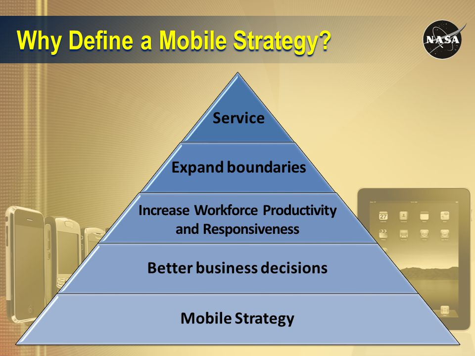 Why Define a Mobile Strategy? Better business decisions Mobile Strategy Increase Workforce Productivity and Responsiveness Expand boundaries Service