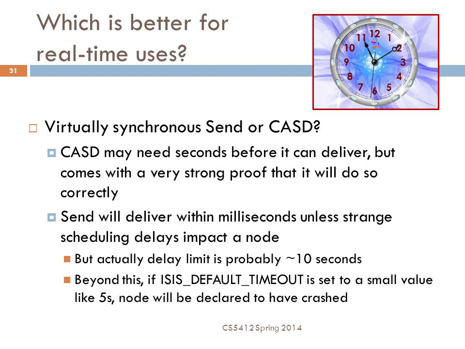 Which is better for real-time uses. 31  Virtually synchronous Send or CASD.