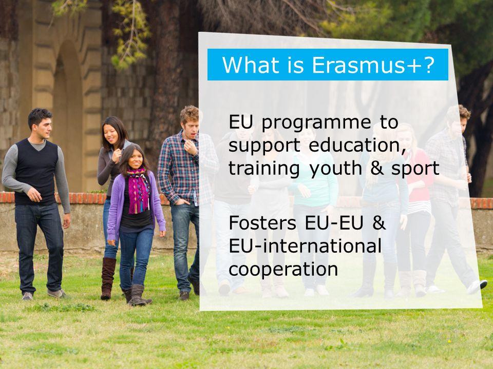 EU programme to support education, training youth & sport Fosters EU-EU & EU-international cooperation What is Erasmus+?