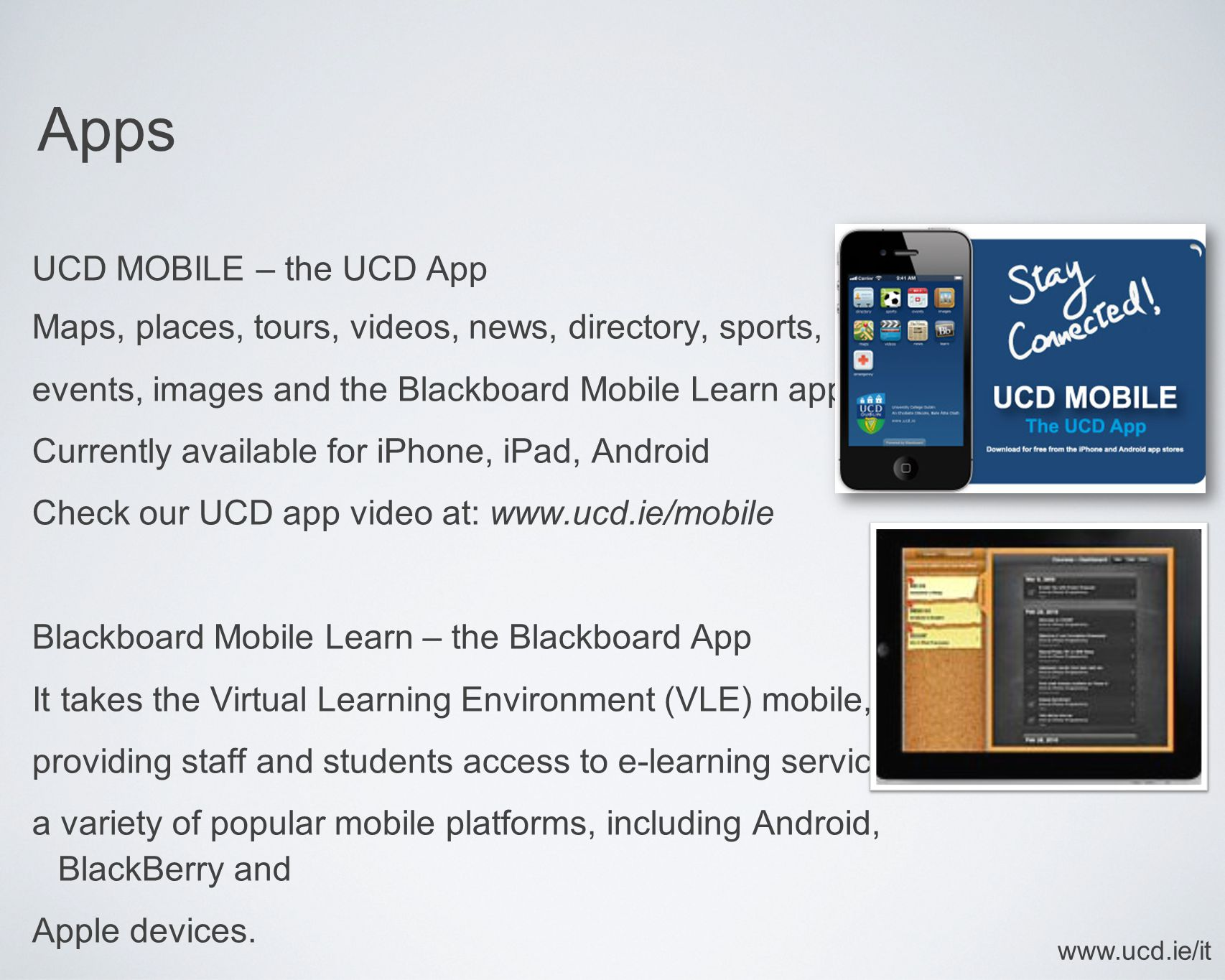 Apps UCD MOBILE – the UCD App Maps, places, tours, videos, news, directory, sports, events, images and the Blackboard Mobile Learn app Currently avail