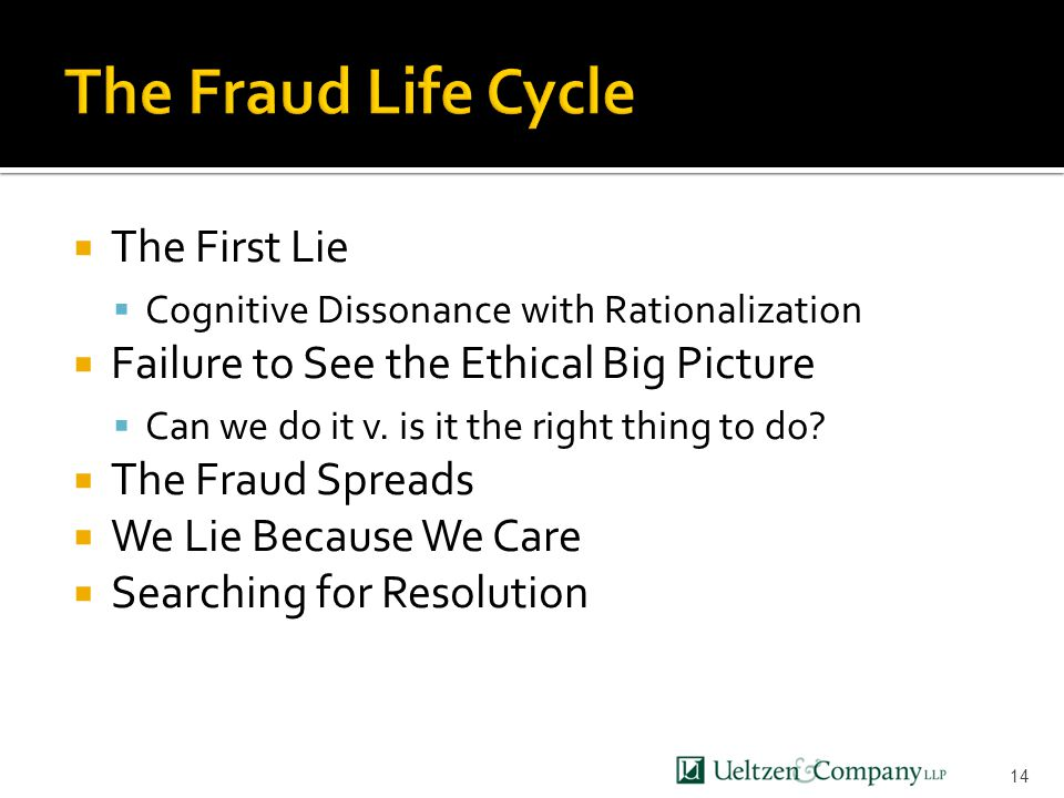  The First Lie  Cognitive Dissonance with Rationalization  Failure to See the Ethical Big Picture  Can we do it v.
