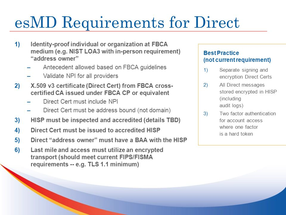 esMD Requirements for Direct 1)Identity-proof individual or organization at FBCA medium (e.g.