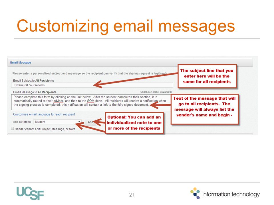Customizing email messages 21