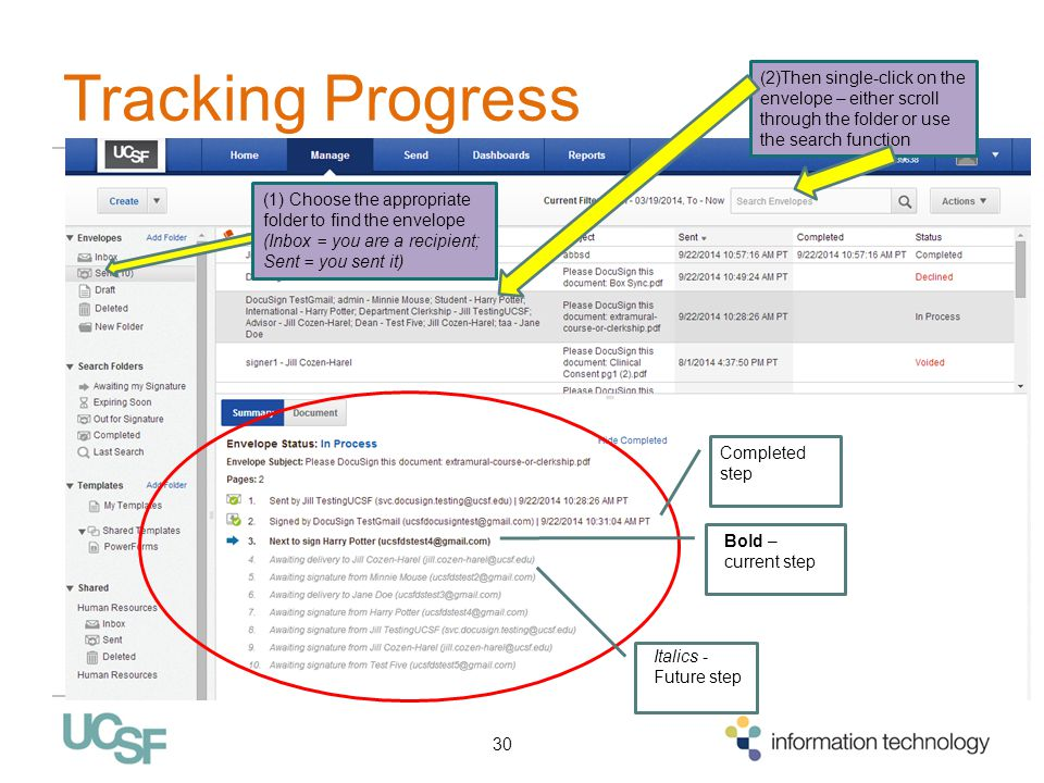 Tracking Progress 30 (1) Choose the appropriate folder to find the envelope (Inbox = you are a recipient; Sent = you sent it) (2)Then single-click on the envelope – either scroll through the folder or use the search function Italics - Future step Bold – current step Completed step