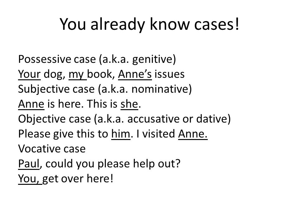 You already know cases. Possessive case (a.k.a.