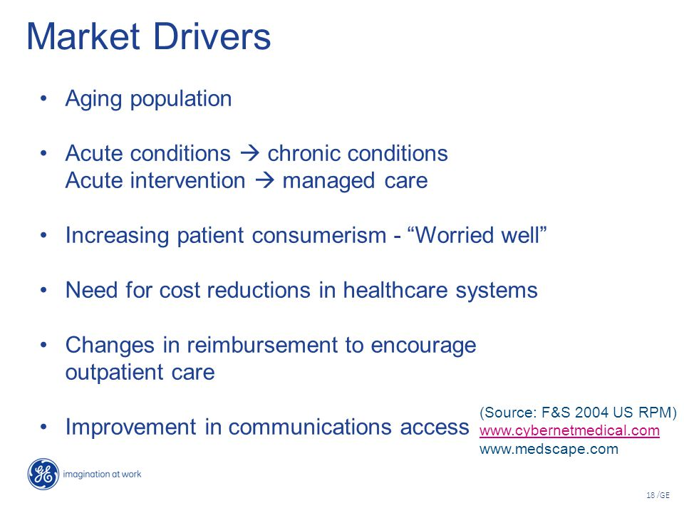 "18 /GE Market Drivers Aging population Acute conditions  chronic conditions Acute intervention  managed care Increasing patient consumerism - ""Worri"