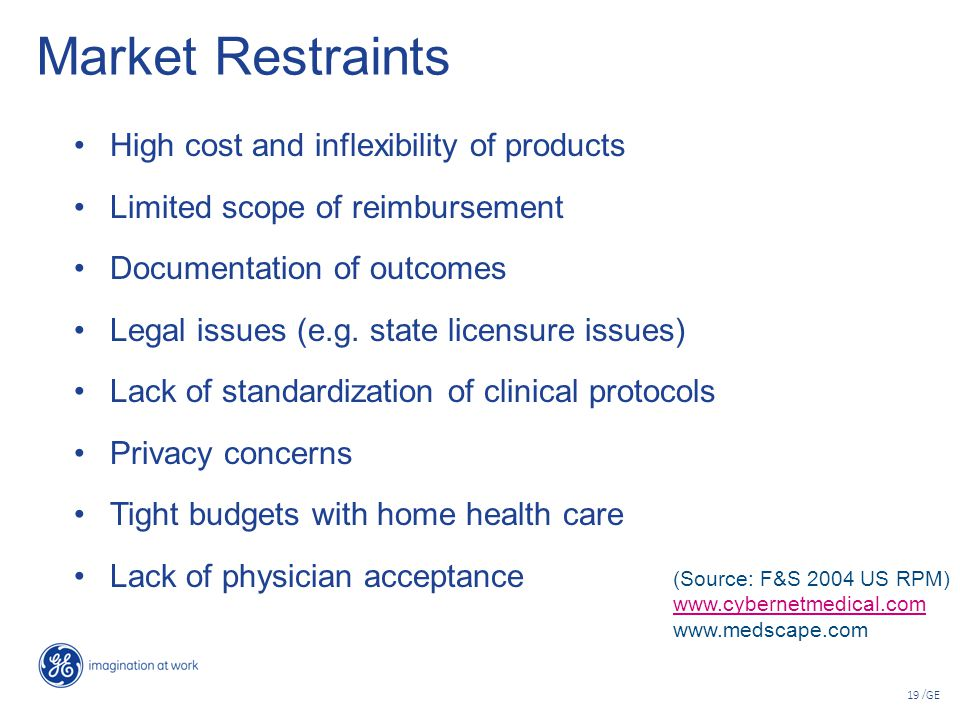 19 /GE Market Restraints High cost and inflexibility of products Limited scope of reimbursement Documentation of outcomes Legal issues (e.g. state lic