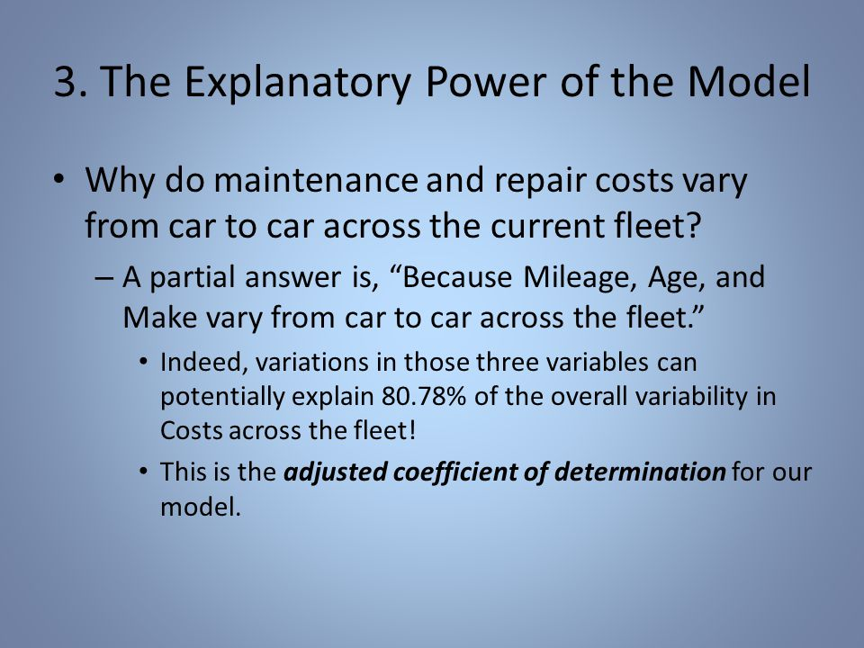 The Explanatory Power of the Model Names can vary: The {adjusted, corrected, unbiased} {coefficient of determination, r-squared} all refer to the same thing.