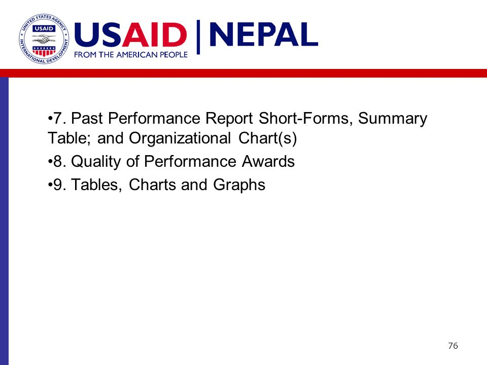 7. Past Performance Report Short-Forms, Summary Table; and Organizational Chart(s) 8. Quality of Performance Awards 9. Tables, Charts and Graphs 76