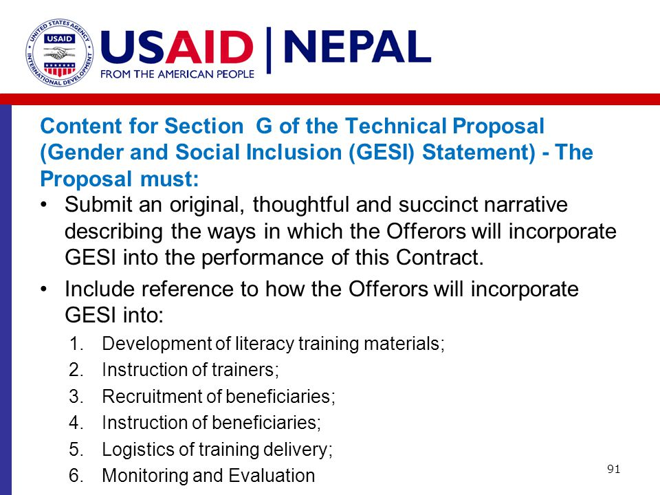 Content for Section G of the Technical Proposal (Gender and Social Inclusion (GESI) Statement) - The Proposal must: Submit an original, thoughtful and