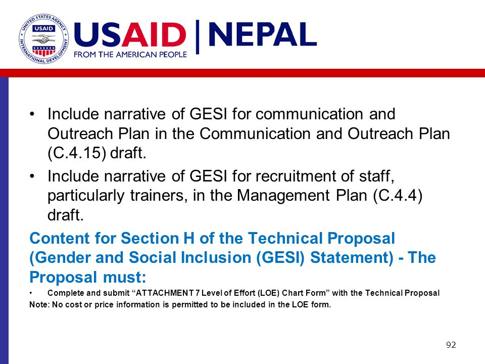 Include narrative of GESI for communication and Outreach Plan in the Communication and Outreach Plan (C.4.15) draft. Include narrative of GESI for rec