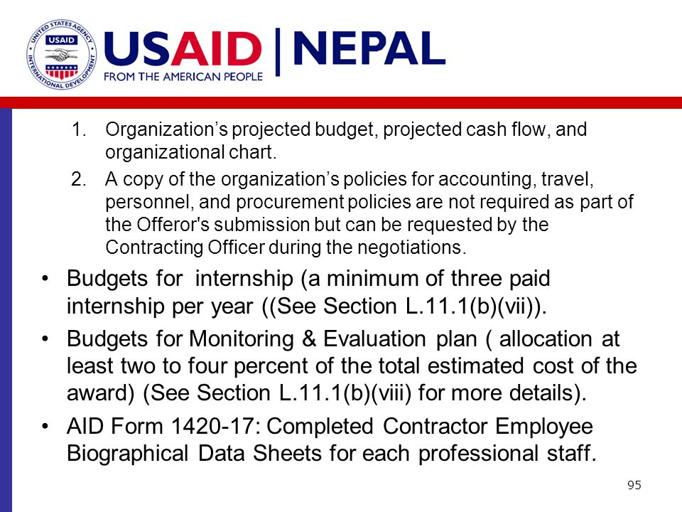 1.Organization's projected budget, projected cash flow, and organizational chart. 2.A copy of the organization's policies for accounting, travel, pers