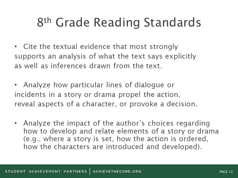 PAGE 12 8 th Grade Reading Standards Cite the textual evidence that most strongly supports an analysis of what the text says explicitly as well as inf
