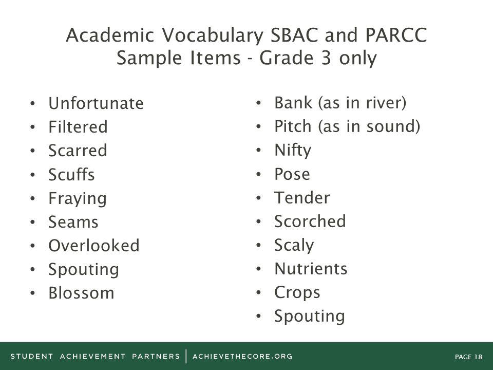 PAGE 18 Academic Vocabulary SBAC and PARCC Sample Items - Grade 3 only Unfortunate Filtered Scarred Scuffs Fraying Seams Overlooked Spouting Blossom B