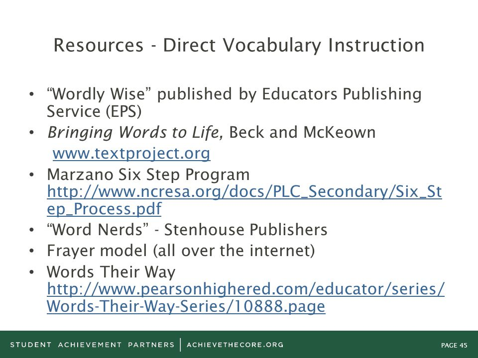 """PAGE 45 Resources - Direct Vocabulary Instruction """"Wordly Wise"""" published by Educators Publishing Service (EPS) Bringing Words to Life, Beck and McKeo"""