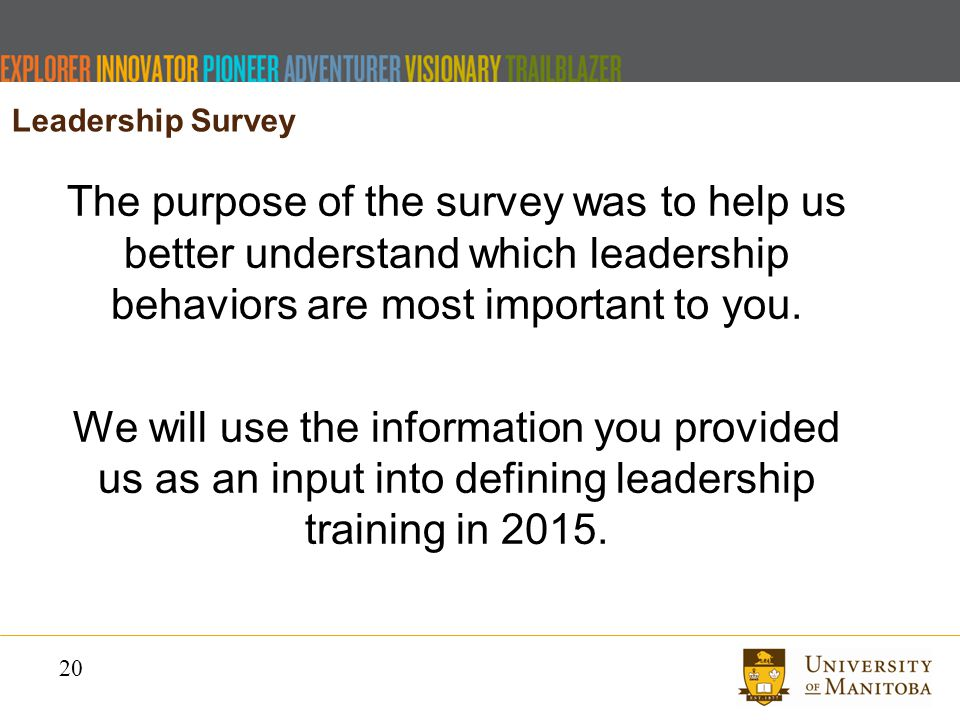 20 The purpose of the survey was to help us better understand which leadership behaviors are most important to you.