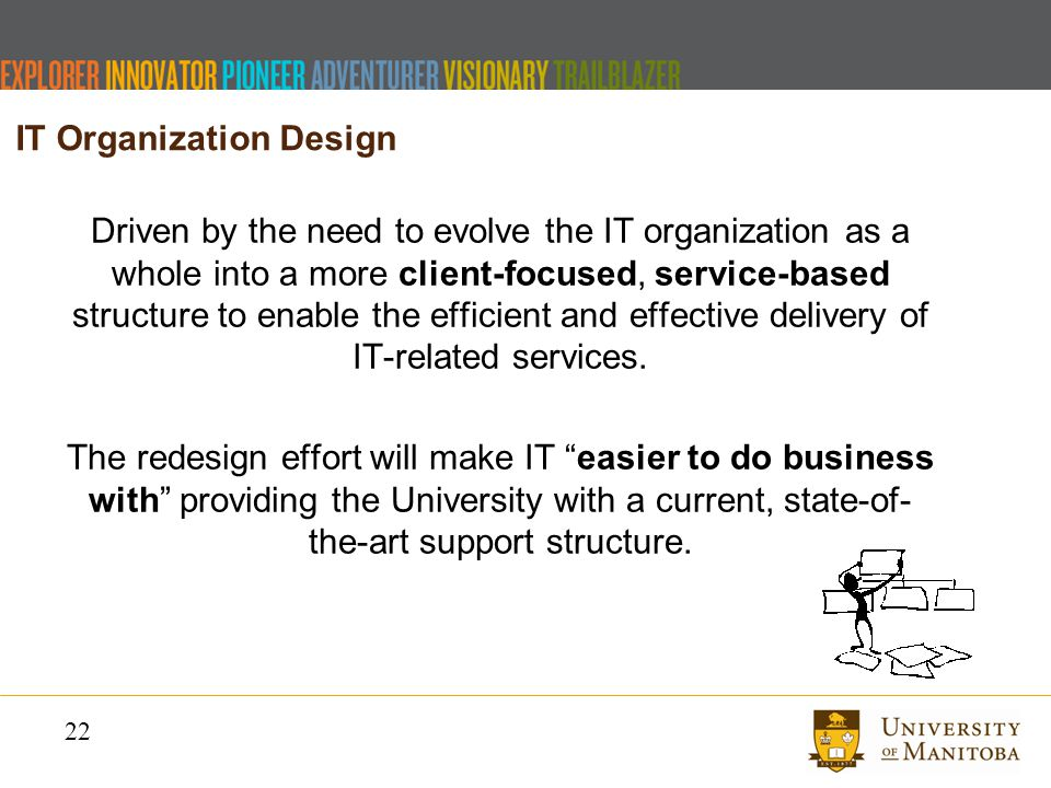 22 Driven by the need to evolve the IT organization as a whole into a more client-focused, service-based structure to enable the efficient and effective delivery of IT-related services.