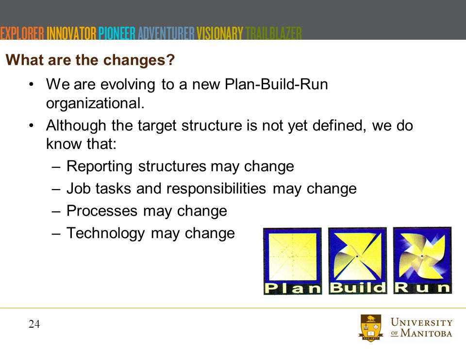 24 We are evolving to a new Plan-Build-Run organizational.