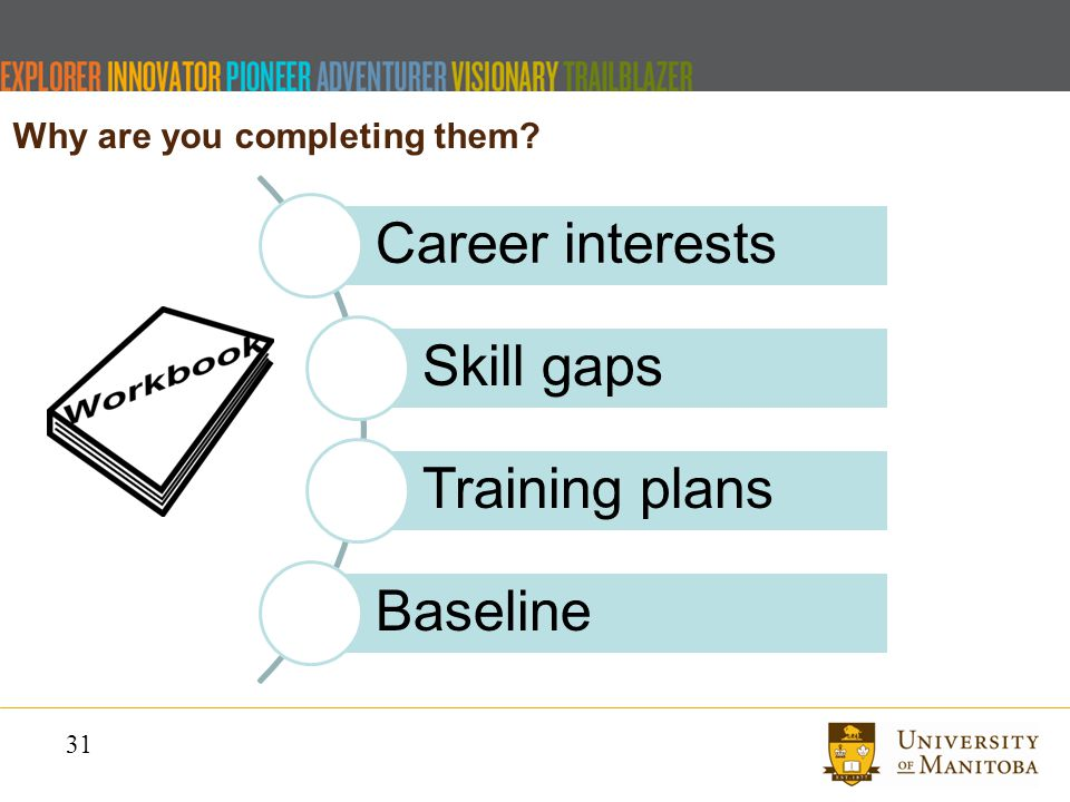 31 Why are you completing them Career interests Skill gaps Training plans Baseline