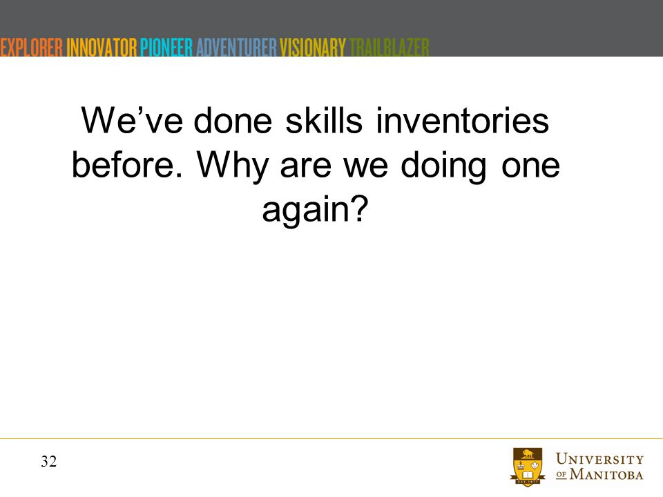 32 We've done skills inventories before. Why are we doing one again