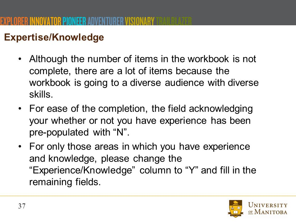 37 Although the number of items in the workbook is not complete, there are a lot of items because the workbook is going to a diverse audience with diverse skills.