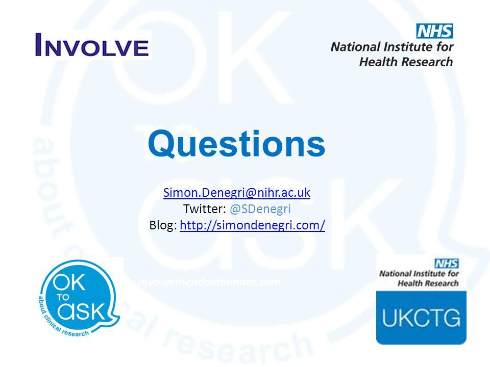 Questions Simon.Denegri@nihr.ac.uk Twitter: @SDenegri Blog: http://simondenegri.com/http://simondenegri.com/ involvementlastminute.com