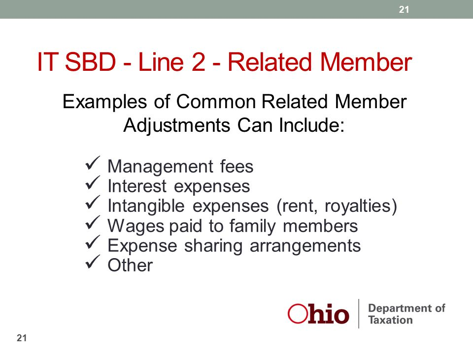 21 Examples of Common Related Member Adjustments Can Include: Management fees Interest expenses Intangible expenses (rent, royalties) Wages paid to fa