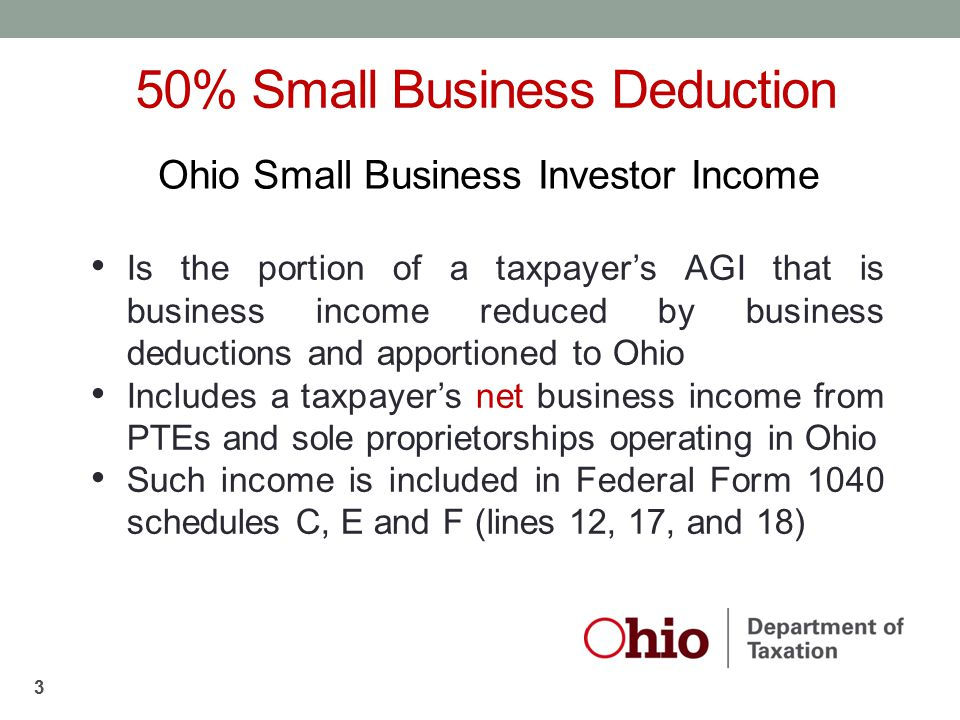Is the portion of a taxpayer's AGI that is business income reduced by business deductions and apportioned to Ohio Includes a taxpayer's net business i