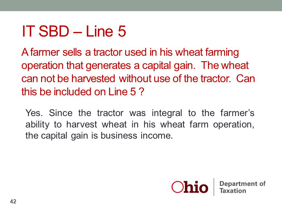 A farmer sells a tractor used in his wheat farming operation that generates a capital gain. The wheat can not be harvested without use of the tractor.