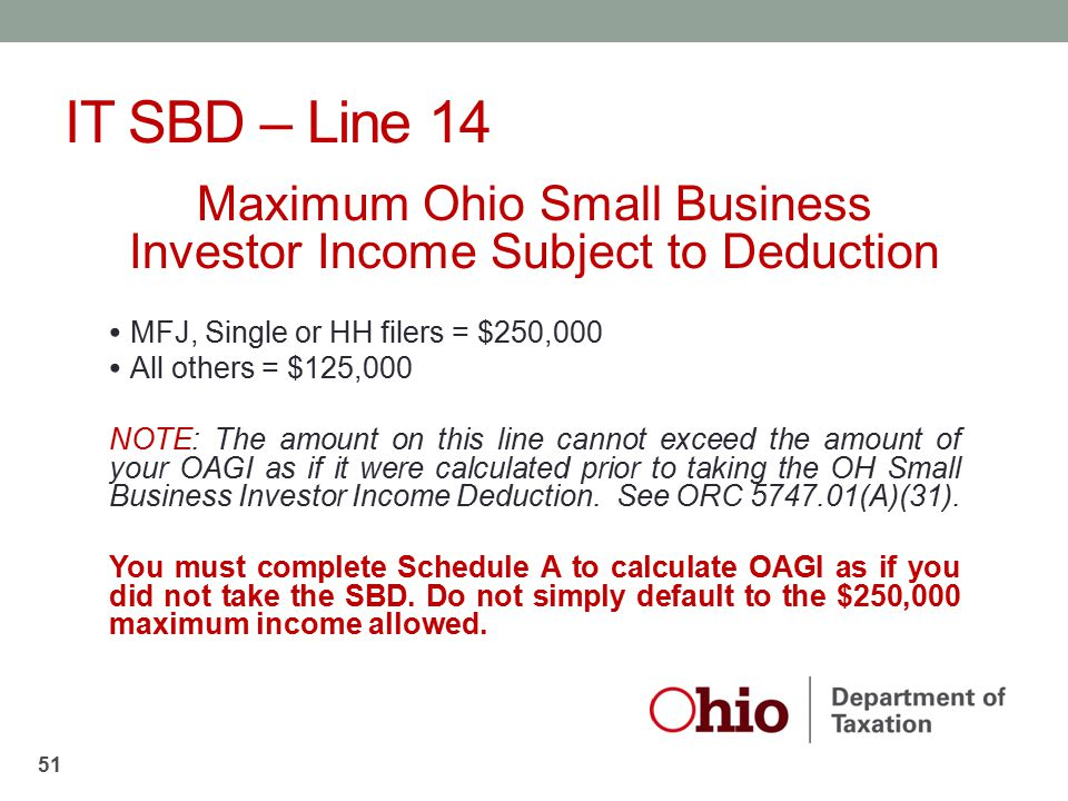 IT SBD – Line 14 Maximum Ohio Small Business Investor Income Subject to Deduction MFJ, Single or HH filers = $250,000 All others = $125,000 NOTE: The